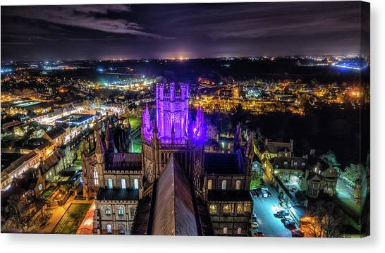 Ely Cathedral In Purple Canvas Print