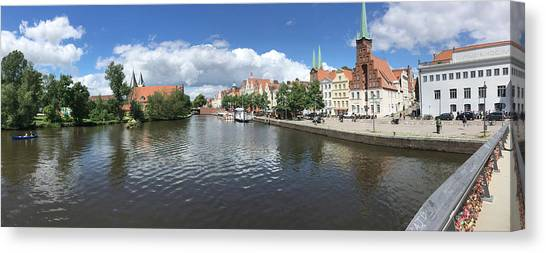 Embankment Of Trave In Luebeck Canvas Print