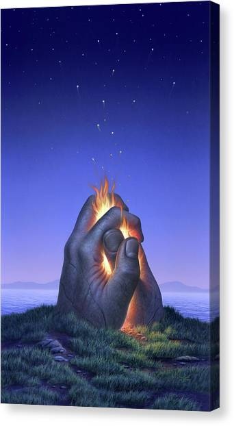 Hand Canvas Print - Embers Turn To Stars by Jerry LoFaro