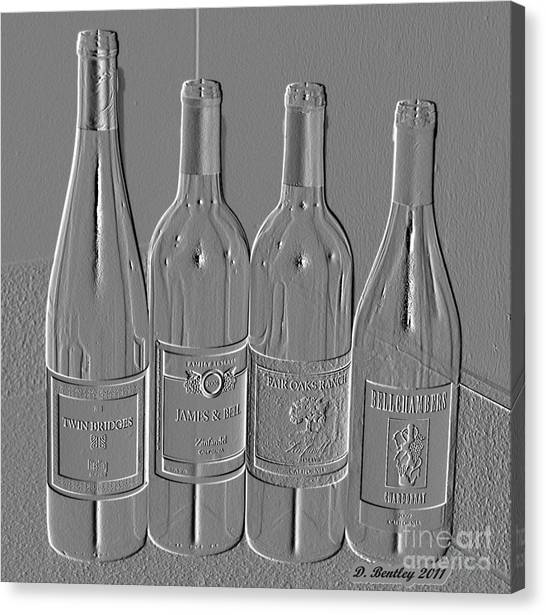 Embossed Wine Bottles Canvas Print