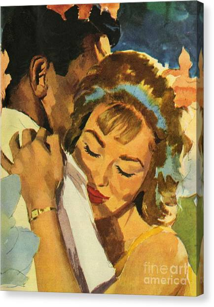 Lovers Canvas Print - Embrace by English School