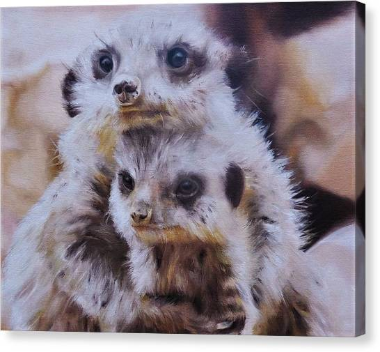 Meerkats Canvas Print - Embraced by Cherise Foster