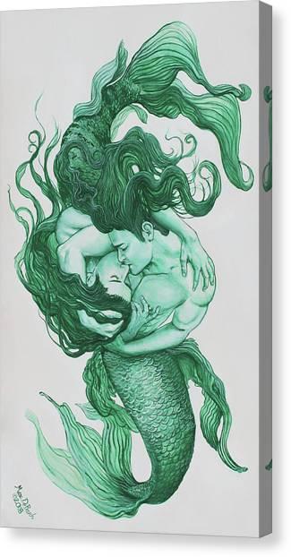 Embracing Mermen Canvas Print