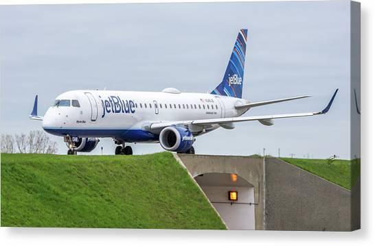 Jetblue Canvas Print - Embraer Emb190 N348jb by Guy Whiteley