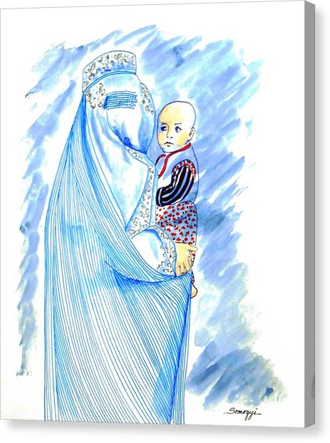 Embroidered Blue Lady-cage -- Woman In Burka Canvas Print