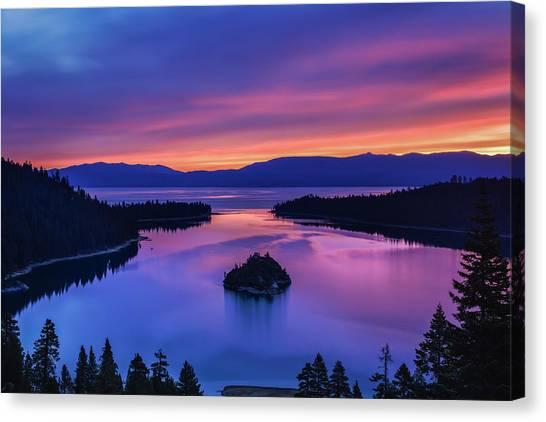 Emerald Bay Clouds At Sunrise Canvas Print