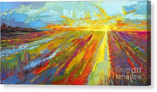 Prairie Sunsets Canvas Print - Emerald Dreams Modern Impressionist Oil Painting  by Patricia Awapara