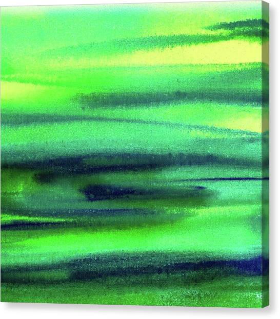 Art Movements Canvas Print - Emerald Flow Abstract Painting by Irina Sztukowski