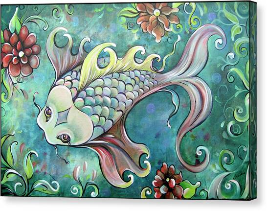 Limes Canvas Print - Emerald Koi by Shadia Derbyshire