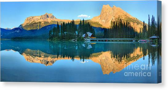 Canada Glacier Canvas Print - Emerald Lake Evening Panorama by Adam Jewell