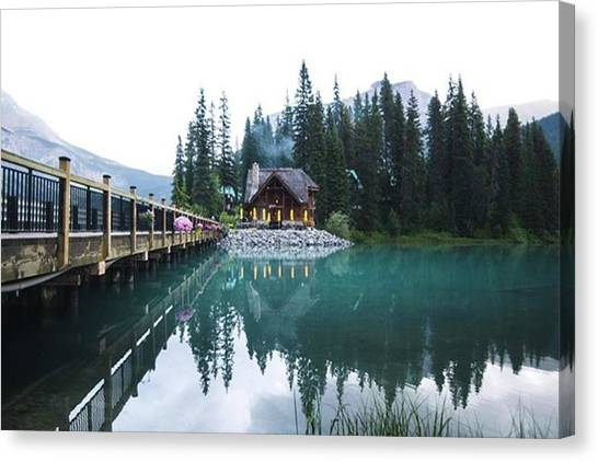 Rainclouds Canvas Print - Emerald Lake In Yoho National Park In by Jesse L