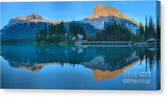 Canada Glacier Canvas Print - Emerald Lake Panoramic Reflections by Adam Jewell
