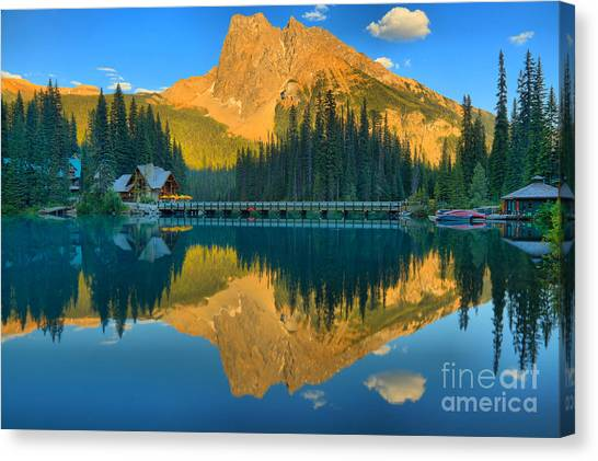 Canada Glacier Canvas Print - Emerald Lake Sunset Glow by Adam Jewell