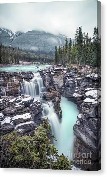 Athabasca Falls Canvas Print - Emerald Rush by Evelina Kremsdorf