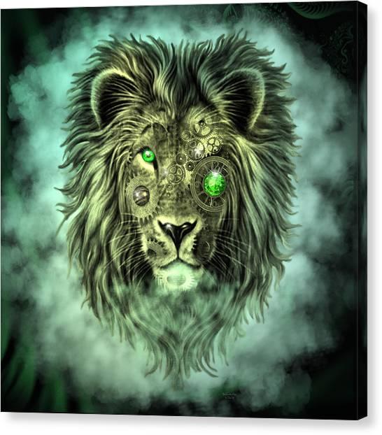 Emerald Steampunk Lion King Canvas Print