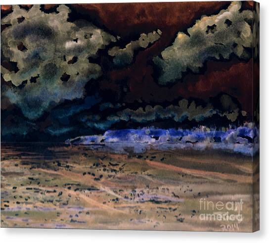 Canvas Print featuring the painting Emerging Darkness by Reed Novotny