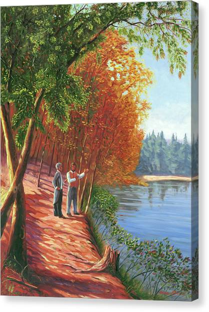 Walden Pond Canvas Print - Emerson And Thoreau At Walden Pond by Steve Simon