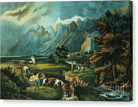 Currier And Ives Canvas Print - Emigrants Crossing The Plains by Currier and Ives