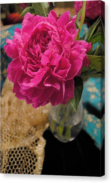 Canvas Print featuring the photograph Emily's Peonies  by Kate Word