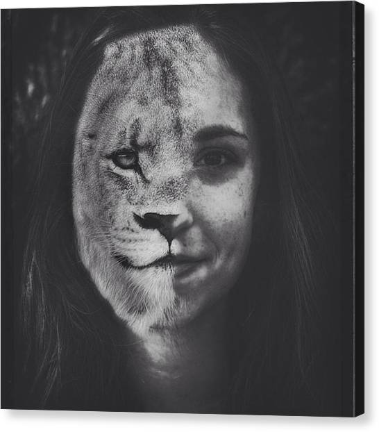 College Canvas Print - #emilysmith #lioness #lion #art by David Haskett II