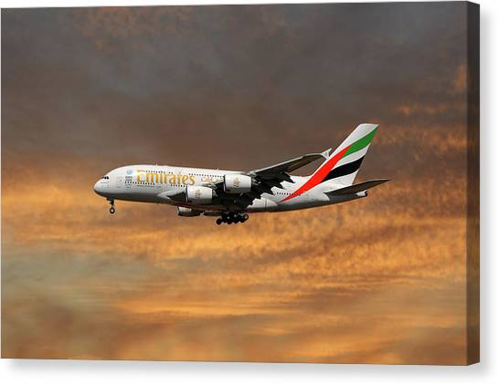 Jet Canvas Print - Emirates Airbus A380-861 3 by Smart Aviation