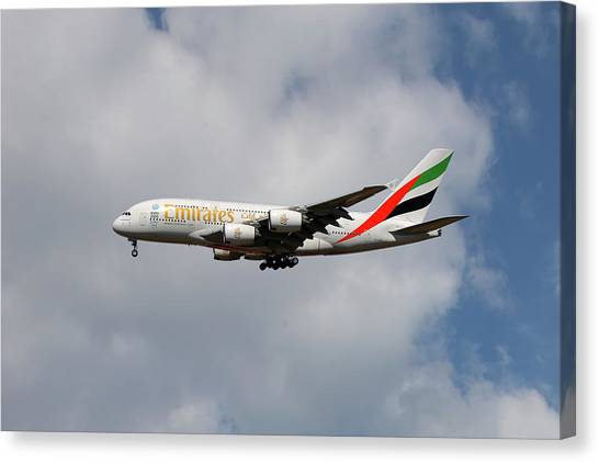 Jets Canvas Print - Emirates Airbus A380-861 5 by Smart Aviation