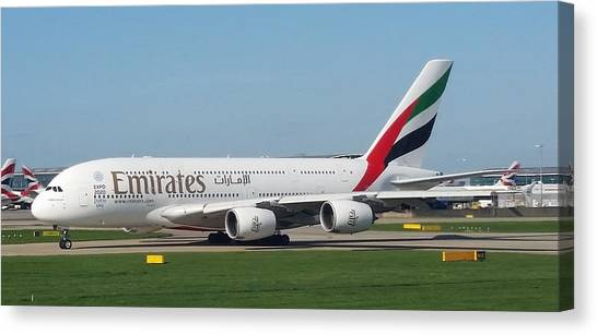 Emirates Airline Airbus A380-800 Canvas Print