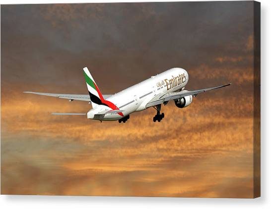 Airlines Canvas Print - Emirates Boeing 777-36n 3 by Smart Aviation