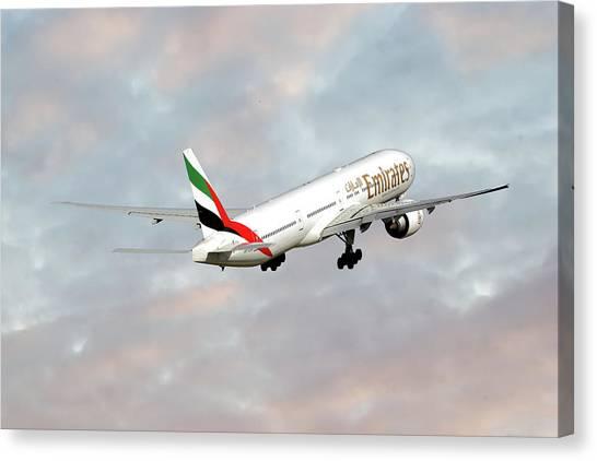 Boeing Canvas Print - Emirates Boeing 777-36n by Smart Aviation