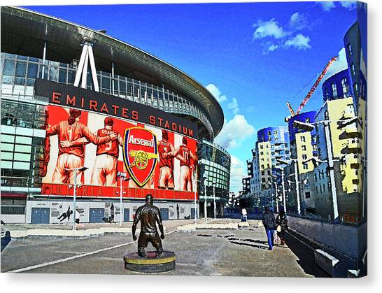 Arsenal Fc Canvas Print - Emirates Stadium London With Statue Of Thierry Henry Home Of Arsenal Fc by Peter Allen