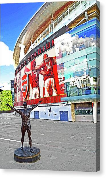 Arsenal Fc Canvas Print - Emirates Stadium London With Statue Of Tony Adams Home Of Arsenal Fc by Peter Allen