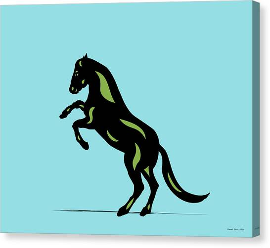 Emma - Pop Art Horse - Black, Greenery, Island Paradise Blue Canvas Print