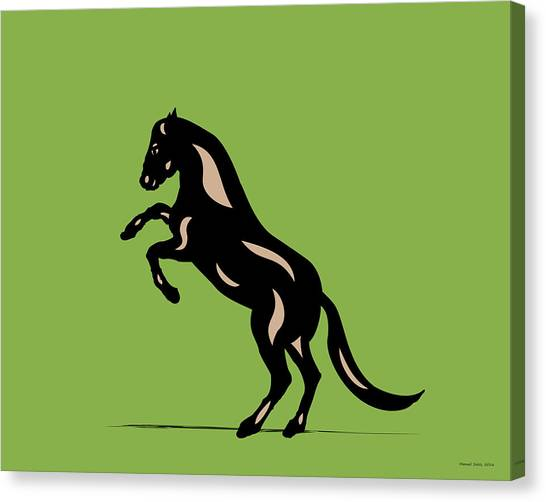 Emma - Pop Art Horse - Black, Hazelnut, Greenery Canvas Print