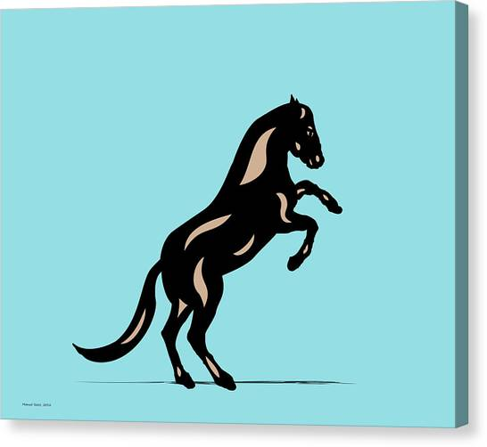 Emma II - Pop Art Horse - Black, Hazelnut, Island Paradise Blue Canvas Print