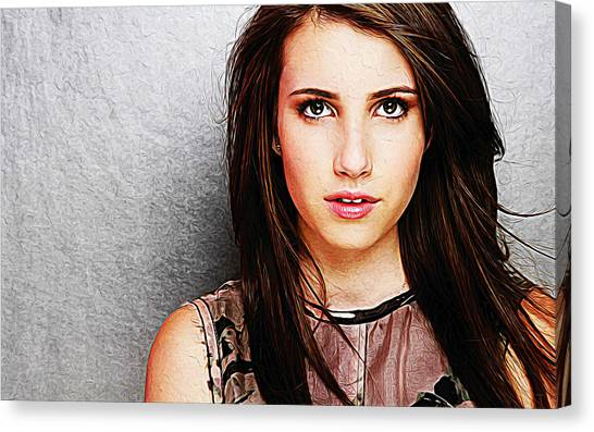 Taylor Swift Canvas Print - Emma Roberts by Queso Espinosa