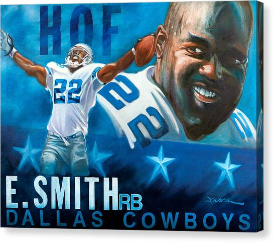 Running Backs Canvas Print - Emmit Smith Hof by Jim Wetherington