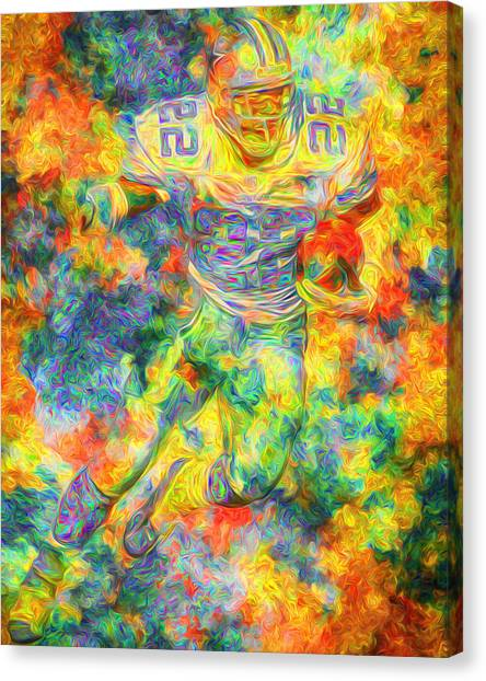Dallas Cowboys Cheerleaders Canvas Print - Emmitt Smith 22 Dallas Cowboys Digital Painting Yellow by David Haskett II