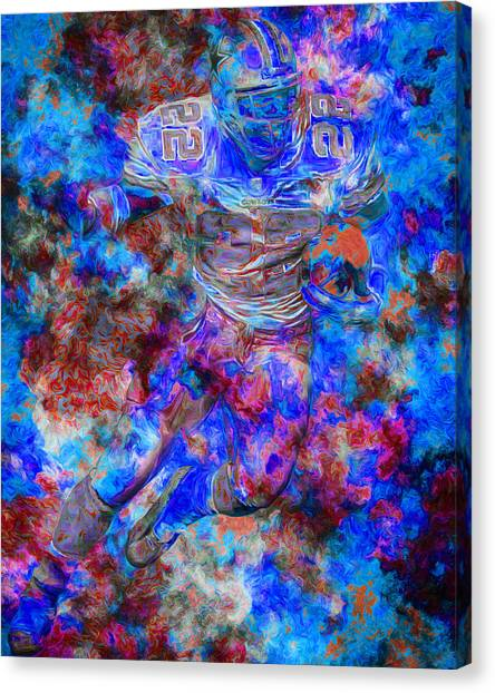 Dallas Cowboys Cheerleaders Canvas Print - Emmitt Smith Dallas Cowboys Digital Painting 12 by David Haskett II