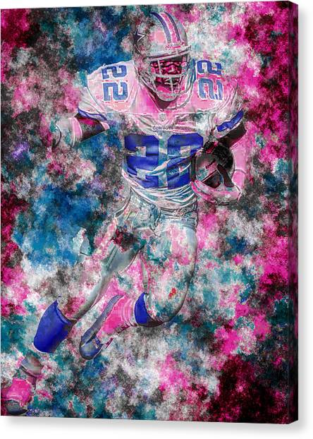 Dallas Cowboys Cheerleaders Canvas Print - Emmitt Smith Dallas Cowboys Digital Painting 14 by David Haskett II