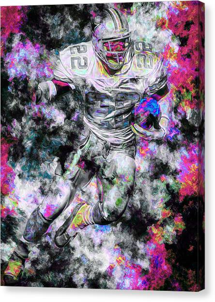 Dallas Cowboys Cheerleaders Canvas Print - Emmitt Smith Dallas Cowboys Painting Digital 13 by David Haskett II