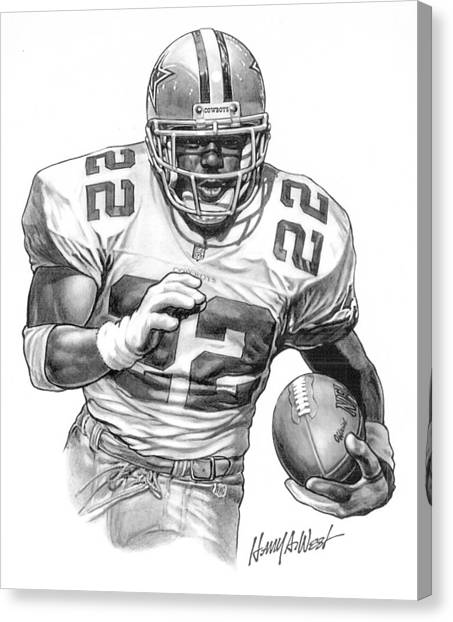 Football Canvas Print - Emmitt Smith by Harry West