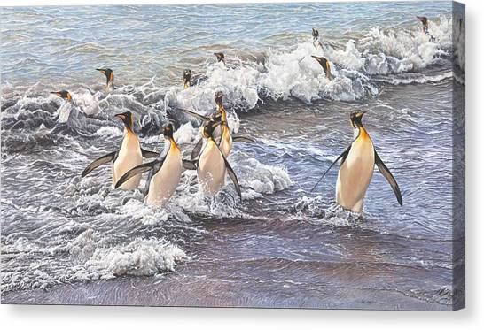 Canvas Print featuring the painting Emperor Penguins by Alan M Hunt