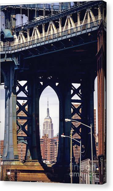 New York City Canvas Print - Empire Framed by Joan McCool