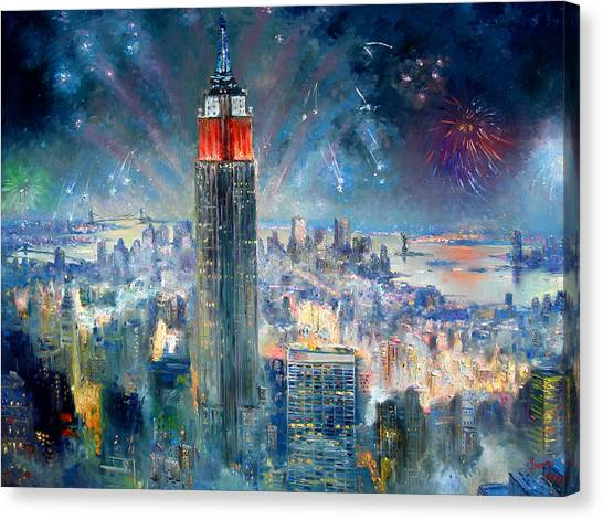 Independence Day Canvas Print - Empire State Building In 4th Of July by Ylli Haruni