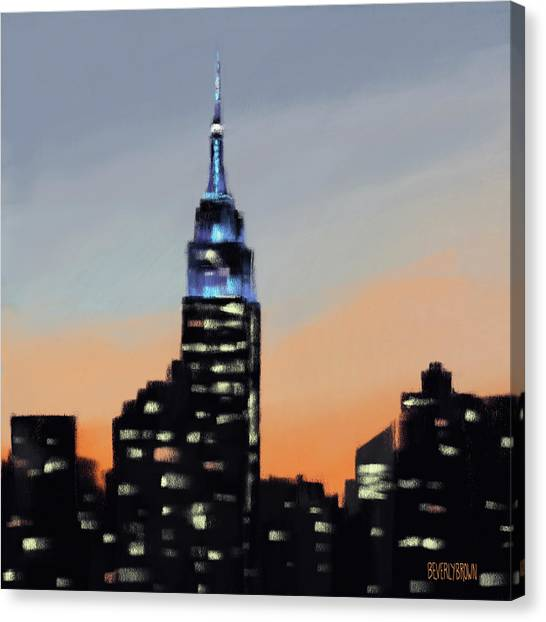 Abstract Skyline Canvas Print - Empire State Building Ombre New York Skyline by Beverly Brown