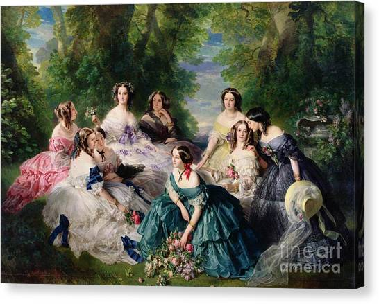 Female Canvas Print - Empress Eugenie Surrounded By Her Ladies In Waiting by Franz Xaver Winterhalter