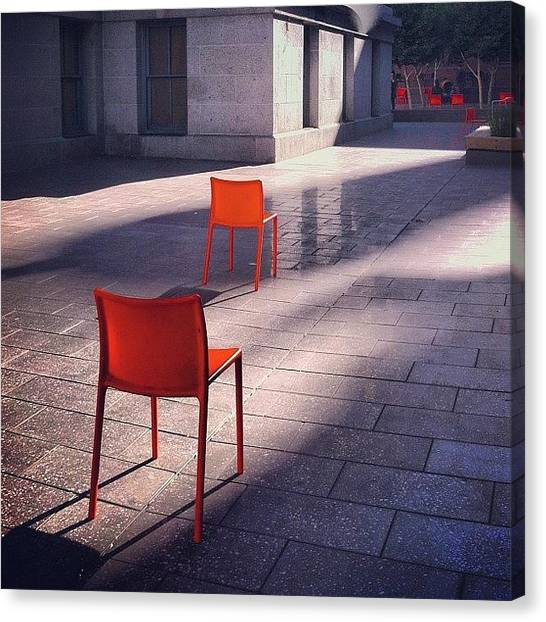 Orange Canvas Print - Empty Chairs At Mint Plaza by Julie Gebhardt