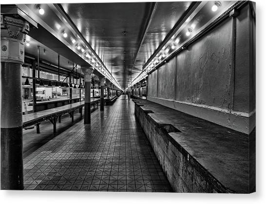Empty Pike Place Market In Seattle Canvas Print