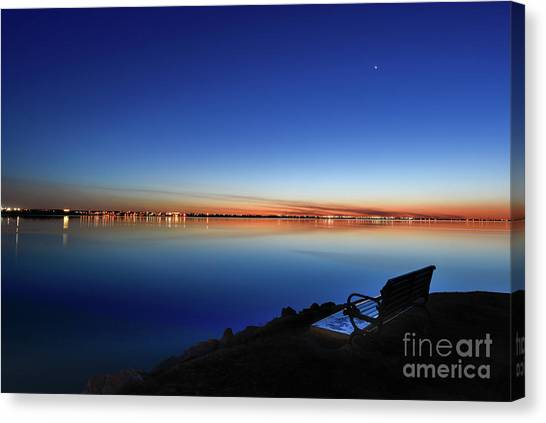 Empty Seat Watching The Moon Canvas Print