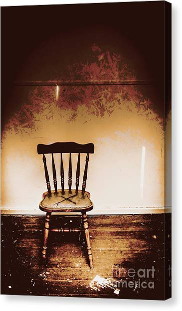 Empty Chairs Canvas Print - Empty Wooden Chair With Cross Sign by Jorgo Photography - Wall Art Gallery